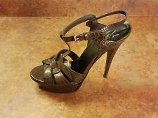 YSL Saint Laurent 'Tribute' Croc Embossed Sandal Gray Womens 10 US 40 Eur $995