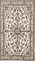 Wool&Silk Light Color Floral Nain Najafabad Oriental Medallion Area Rug 4x7