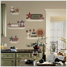 COUNTRY FRIENDS & FAMILY Wall Stickers 39 decals shelves stars rustic room decor