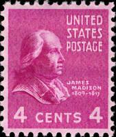 Scott#: 808 - James Madison Single Stamp MNH OG -- Free Shipping --