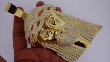 Mens 500 Grams 10k Solid Gold Giant Jesus Face Pendant Charm 30 Carat Diamonds