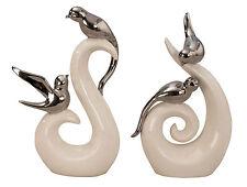 escultura moderna de parejas de Aves BLANCO/Plata Cerámica Altura 25cm