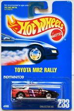 HOT WHEELS 1991 BLUE CARD TOYOTA MR2 RALLY #233 BLACK W/ 5 SP WHEELS 18 W+