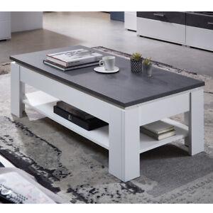 Couchtisch Spurt Tisch Wohnzimmertisch Beistelltisch weiß und Betonoptik
