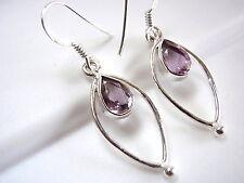 Faceted Amethyst Earrings Teardrop in Hoop 925 Sterling Silver Dangle Drop New