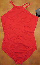 NWT Dance Bloch Red Swirl Front Jewel Neck Halter Leotard Ladies Sm Adult L6120