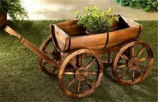 Nostalgic Yard Decor Planter! ** REAL FIR WOOD APPLE BARREL PLANTER WAGON ** NIB