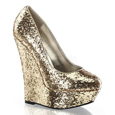 AU Stock Pleaser Day & Night Luster-20 Gold Glitter Party Wedge Pumps US6 AU5
