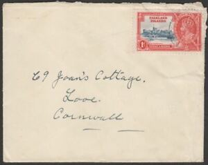 Falkland Islands KGV Silver Jubilee 1d Used on Cover to UK