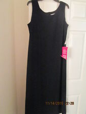 Woman's Black long Dress w/no sleeves, zipper back size 14 New w/tags