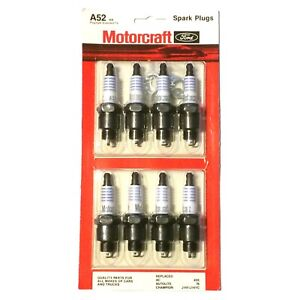 """A52 Motorcraft Ford, all Makes Truck, Cars, 8 Spark Plugs Card, 13/16"""", Vintage"""