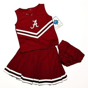 HALLOWEEN CHEERLEADER OUTFIT COSTUME 0-6 MTHS ALABAMA POM POMS BOW ROLL TIDE