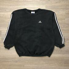 Vintage Adidas Sweatshirt Mens Large Black 90s Crew Neck 3 Stripes