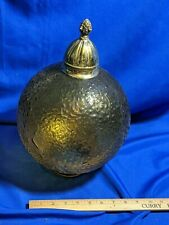Mid Century Modern-70s Amber Glass Globe Swag Lamp Shade Only Vtg Brass Finial