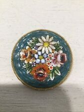 Vintage Round Blue Floral Micro Mosaic Pin Made in Italy
