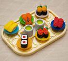 Made in Japan detail Mini Conveyor Belt Sushi with green Tea Eraser Rubber set