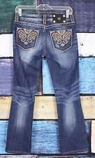 Miss Me 26 Dark Wash Stretch Rhinestone Embellished Paisley Bootcut Boot Jeans