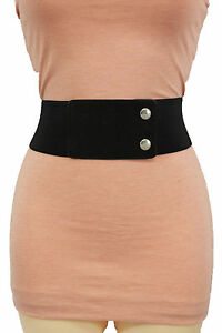 Women Hip High Waist Elastic Faux Suede Black Fabric Fashion Belt Basic S M