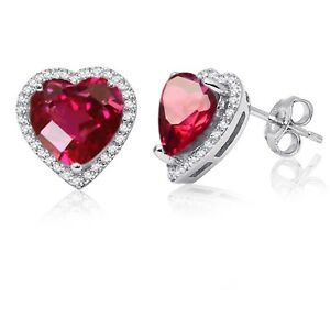 Ruby Red Simulated Diamond Halo Heart Sterling Silver Stud Earrings