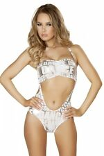 GoGo Monokini Gr.M/L 36-38 weiß silber Overall inklusive Top Show