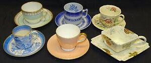 6 Demitasse Cups & Saucers -B&G, Spode, Royal Doulton, Wedgwood, Royal Worcester
