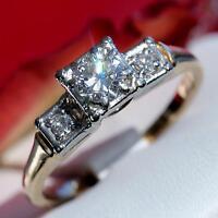 Jabel Antique handmade 14k multi tone gold 0.40ct diamond engagement ring 2.8gr