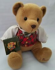 "Harrods Knightsbridge Plush Teddy Bear 9"" Plaid Vest Bow Tie Brown Toy Stuffed"