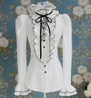 Tops High Neck Frilly Ruffle Womens Victorian Long Sleeves Shirts Blouse Summer