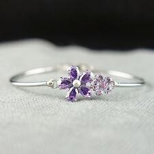 14k white Gold plated purple flower with Swarovski crystals bangle bracelet