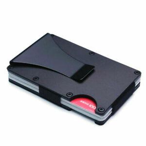 Antimagnetic RFID Blocking Metal Wallet Mini Credit Card Holders Money Clip