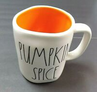 """NEW"" RAE DUNN LL ""PUMPKIN SPICE"" & Heart Double Sided Mug With Orange inside"