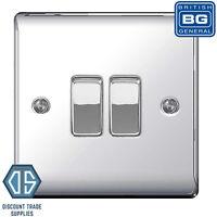 BG Nexus Polished Chrome Double Light Switch NPC42 - 2 Gang 2 Way Light Switch
