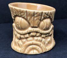 Lil Leno Tiki Farm 2008 Brown Tree Stump Tiki Ceramic Mug Shot Glass