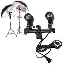 Studio Flash Light Lamp Bulb Twin/Double-Head Holder E27 Socket Umbrella Bracket