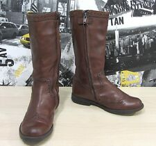 Girls Geox Respira  Chestnut Brown Leather Brogue Style Boots Size UK 12 Used