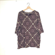 Catherines easy fit Tees collection 2x 22 24 purple floral geometric print 3/4