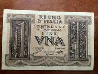 Billet de banque, Italie, 1 lire, 14 novembre 1939. Comme neuf.