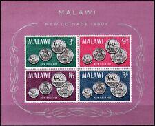 MALAWI 1965 New Coins. Bird Elephant Corn Heraldry. S/Sheet, MNH