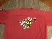Vintage Minnesota Golden Gophers Embroidered Goldy Mascot Large Red Sweatshirt