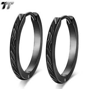 TT Black Stainless Steel Narrow Large Hoop Earrings (EH107) 20mm NEW