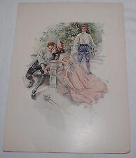 "Vintage Harrison Fisher Art Print 1907 The Duel Victorian Lady & Men 10"" x 7"""