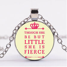 Photo Silver Fashion Glass Necklace,Quote-though she be but little she is fierce