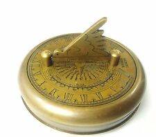Artshai Antique Brass Gilbert Sundial magnetic Pocket compass cum Time Reader