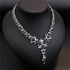 Fashion Navy Blue White Crystal Shiny Statement Flowers Maxi Necklace For Women