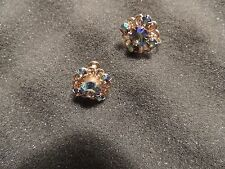 WEISS vinatge earrings.  Beautiful Blue Rhinestone Screw backs. Signed!