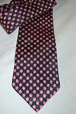 Dunhill ~London Classic Elegant Black/Red Floral Print 100% Silk Tie