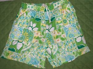 Men's LILLY PULITZER swim trunks patchwork EUC greens yellows blues sz L