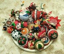 Lot of 32 Vtg Handmade Xmas Ornaments Quilted Fabric, Needlepoint, Balls, Stars+