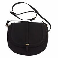 Nica Black Handbag Lined Long Strap Magnetic Clasp Logo Inner Pockets