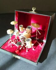 "FUN miniature drum set in box 3.5 x 5.5 x 4"" closes fully transportable"